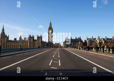 westminster bridge looking towards palace of westminster houses of parliament buildings London England UK United - Stock Photo