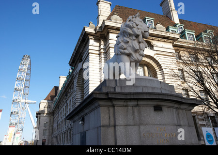 the south bank lion london eye and county hall southbank London England UK United kingdom - Stock Photo
