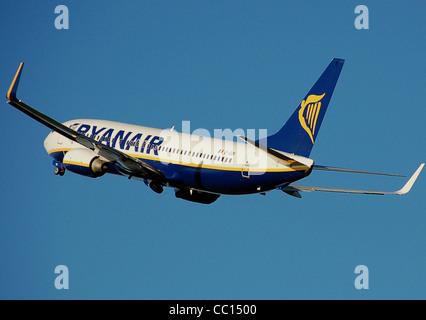 Ryanair Boeing 737-800 (registration EI-DCK) taking off from Bristol International Airport, Bristol, England. - Stock Photo