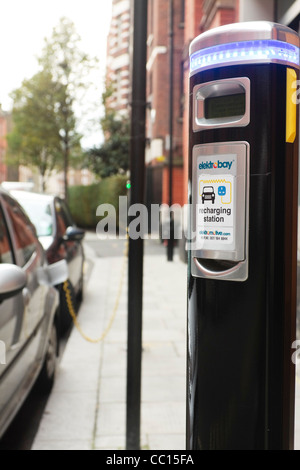 A close-up of an electric car charging point, London, UK, - Stock Photo