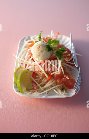 Raw Tuna with Lime Sorbet - Stock Photo