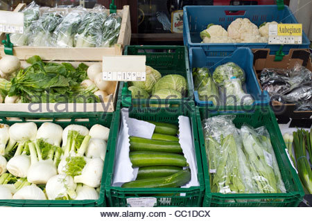 Fresh Vegetables for sale at a small market in Leipzig, Germany, Europe - Stock Photo