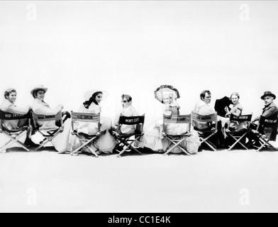 ROD TAYLOR, NIGEL PATRICK, ELIZABETH TAYLOR, MONTGOMERY CLIFT, EVA MARIE SAINT, LEE MARVIN, AGNES MOOREHEAD, RAINTREE - Stock Photo