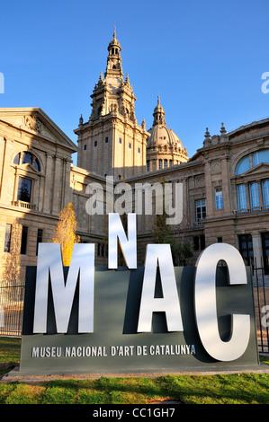 Barcelona, Spain. MNAC - Museu Nacional D'Art de Catalunya in the Palau Nacional on Montjuic Hill - Stock Photo