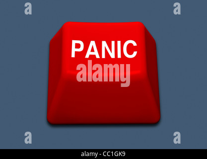 Red PANIC button on a plain blue background - Stock Photo
