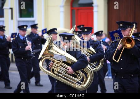 Garda band marching in a parade in Cavan. Ireland - Stock Photo