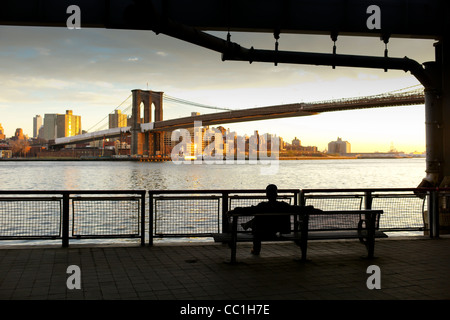 November 28th 2011: Pictures showing the Brooklyn Bridge and in New York City, USA. - Stock Photo