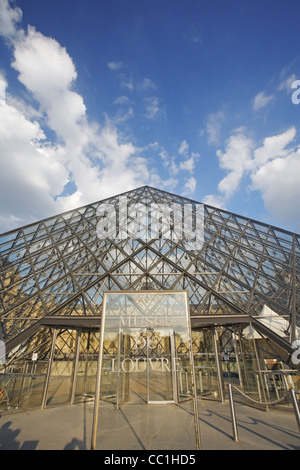 The Glass Pyramid of the Louvre museum, Paris, France - Stock Photo