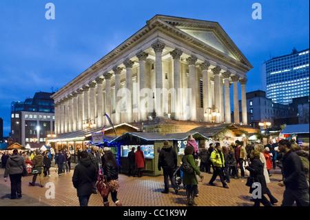 Frankfurt German Christmas Market in front of the Town Hall, Chamberlain Square, Birmingham, UK - Stock Photo