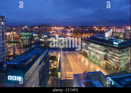 View over Salford Quays from MediaCityUK with the BBC studios in the foreground, Salford Quays, Manchester, UK - Stock Photo