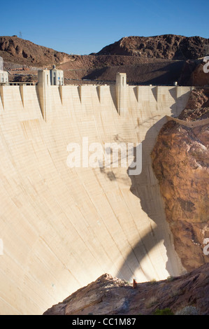 Hoover Dam and Lake Mead near Boulder City, Nevada - Stock Photo