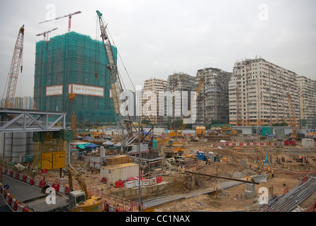 new building site and the coronation development under construction on reclaimed land in west kowloon hong kong - Stock Photo