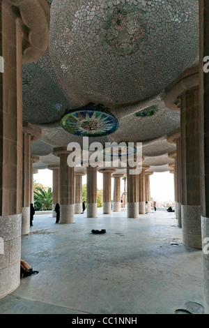 Hall of One Hundred Columns, Gaudi architecture, Parc Guell,Barcelona, Catalunya (Catalonia) (Cataluna), Spain, - Stock Photo