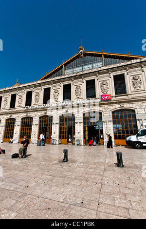 Main Facade of the c19th Gare Saint Charles Railway Train Station, Marseille or Marseilles, Provence, France - Stock Photo