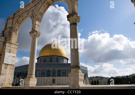 The beautiful Dome of the Rock on top of the Temple Mount in Jerusalem. - Stock Photo