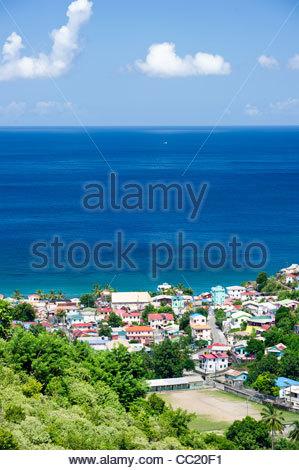 photo of Anse La Raye bay, a fishing village in St. Lucia. - Stock Photo