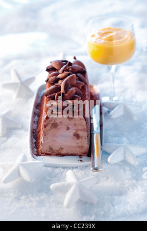Iced Yule Log with Chestnut - Stock Photo