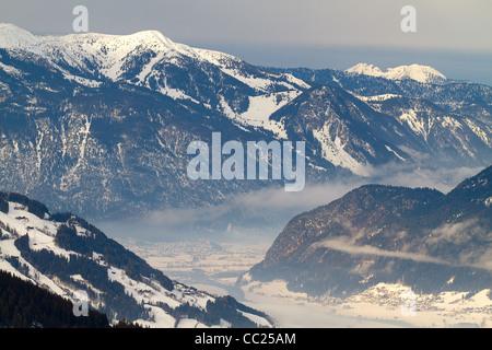 View over Zillertal valley from Kaltenbach Hochzillertal ski region, Tyrol, Austria - Stock Photo