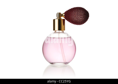 Perfume Bottle Against a White Background - Stock Photo