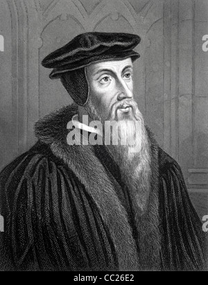 John Calvin (1509-1564) French Theologian, Church reformer, Humanist & Pastor. c19th Portrait Engraving by Woolnoth - Stock Photo