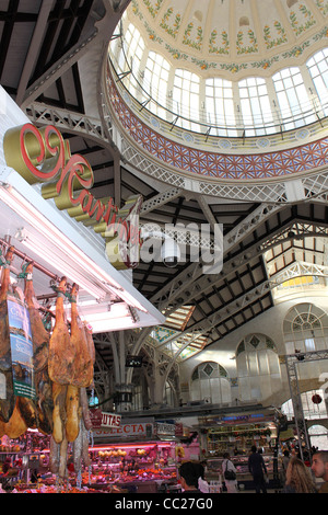 Valencia - Mercado Central (Central Market) one of the largest in Europe is filled with locally produced products - Stock Photo