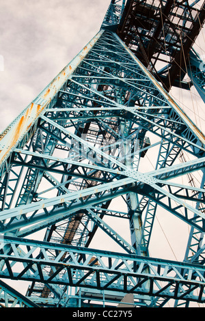 The Transporter Bridge, the iconic blue bridge over the River Tees in Middlesbrough, Teeside, UK. - Stock Photo