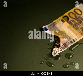 A burnt 200 euro note, dowsed with water - Stock Photo