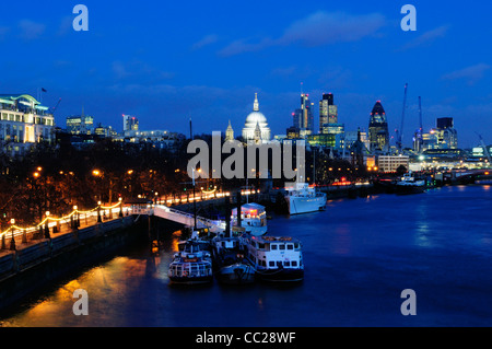 View from Waterloo Bridge towards St Paul's Cathedral, London, England, UK - Stock Photo