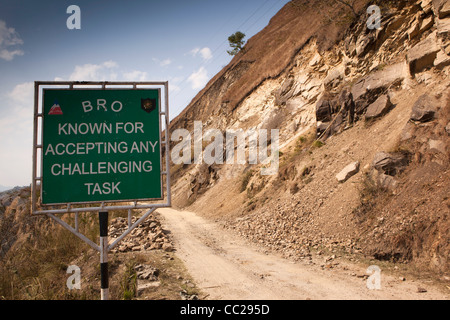 India, Arunachal Pradesh, Border Roads Agency known for accepting any challenging task sign at landslip area - Stock Photo