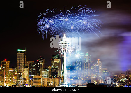 Fireworks' show on New Year's Eve at Space Needle, Seattle, Washington, USA - Stock Photo