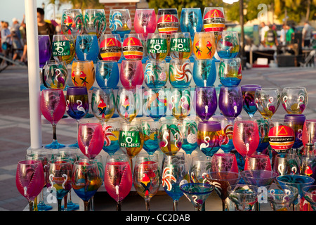 colourful painted glasses at the market on Mallory Square in Key West, Florida Keys, Florida, USA - Stock Photo