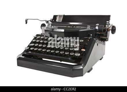Vintage black typewriter isolated on white. - Stock Photo