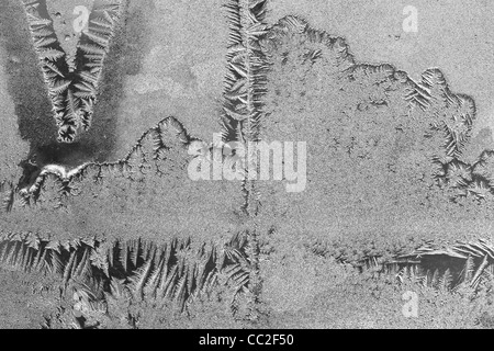 Ice crystals - frost,ice pattern, on a frozen in Montreal, Canada - Stock Photo