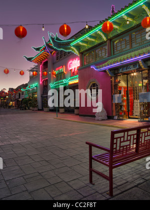 Street view of Chinatown in Los Angeles at dusk. - Stock Photo
