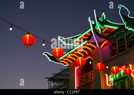 Chinese lanterns in Chinatown district of Los Angelese - Stock Photo