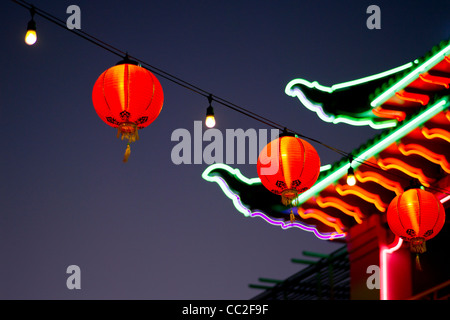 Chinese lanterns and neon lights, Chinatown, Los Angeles,CA,US - Stock Photo