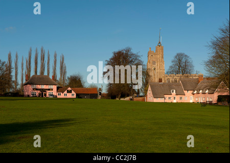 Cavendish,Suffolk,England. The village Green and St Mary's Church, one of the most beautiful villages in England. - Stock Photo