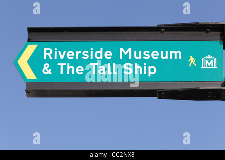 A sign for Glasgow Riverside Museum and The Tall Ship, Scotland, UK - Stock Photo