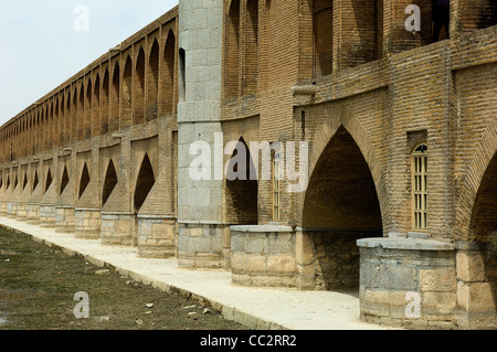 The Si-o-Seh Bridge or Bridge of 33 Arches or Allahverdi Bridge in Isfahan Iran was built around 1600 as a bridge - Stock Photo
