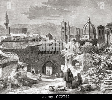 Florence, from the Porta San Nicolo, Tuscany, Italy in the late 19th century - Stock Photo