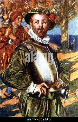 English navigator Sir Francis Drake shown while disembarking at one of the stops he made, while sailing his galleon - Stock Photo