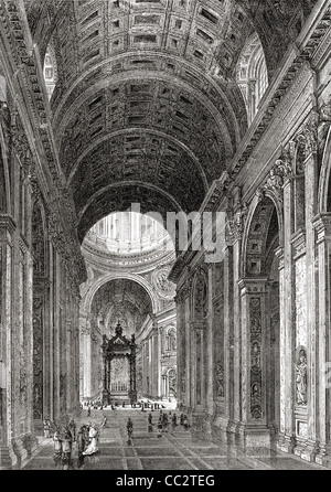 Interior of Saint Peter's Basilica, Vatican City, Rome, Italy in the late 19th century. - Stock Photo