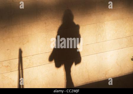 USA, New York City, Shadow of female pedestrian on sunlit wall - Stock Photo