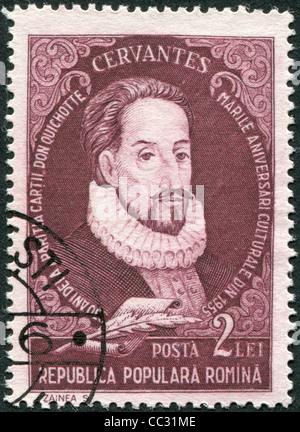 ROMANIA - CIRCA 1982: A stamp printed in the Romania, shows the Miguel de Cervantes Saavedra, circa 1982 - Stock Photo
