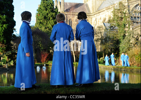 Boy choristers from the Wells Cathedral Choir in Somerset UK during a break from rehearsals for Christmas carol - Stock Photo