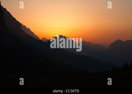 Sunrise over the Italian Dolomites, seen from Passo Falzarego, Belluno, Italy, Europe - Stock Photo
