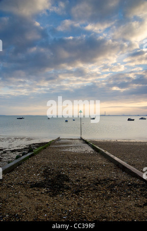 Boat launch on the beach at Shoeburyness - Stock Photo