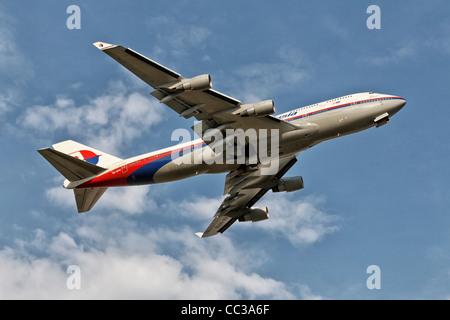 Boeing 747 Jumbo Jet of Malaysian Airlines - Stock Photo