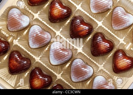 Heart shape chocolate in box close-up - Stock Photo