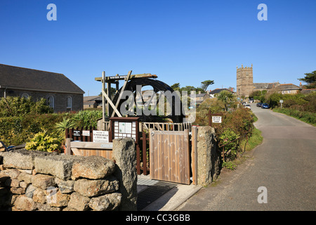 Zennor Cornwall England UK. View of village to church from Wayside Folk Museum and Trewey Mill with working waterwheel - Stock Photo
